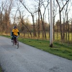Moonlight Ride: the cyclists on Steer Creek trail